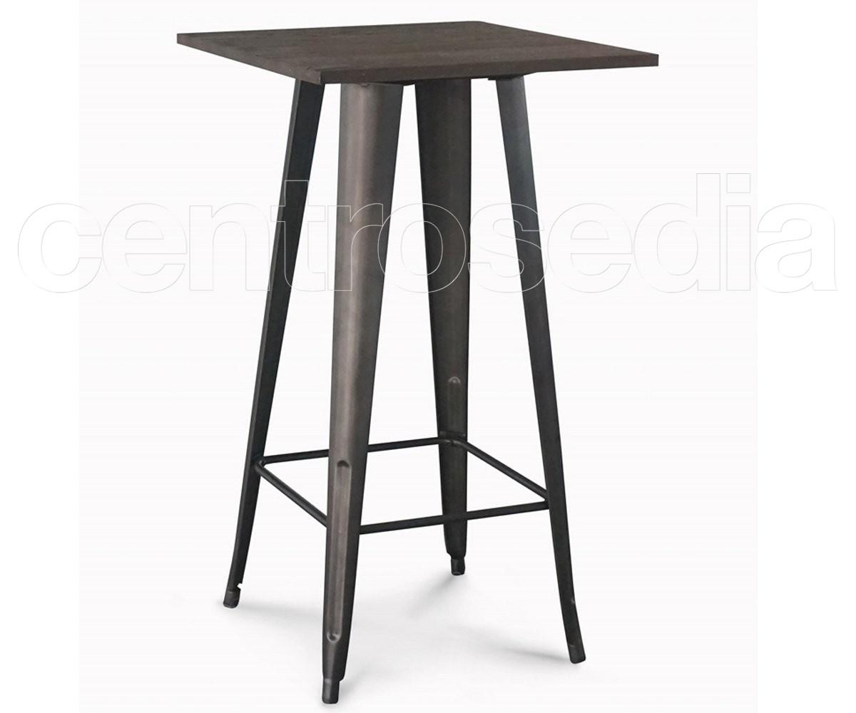 Tavoli Alti In Legno : Ares tavolo alto metallo old style piano legno tavoli alti