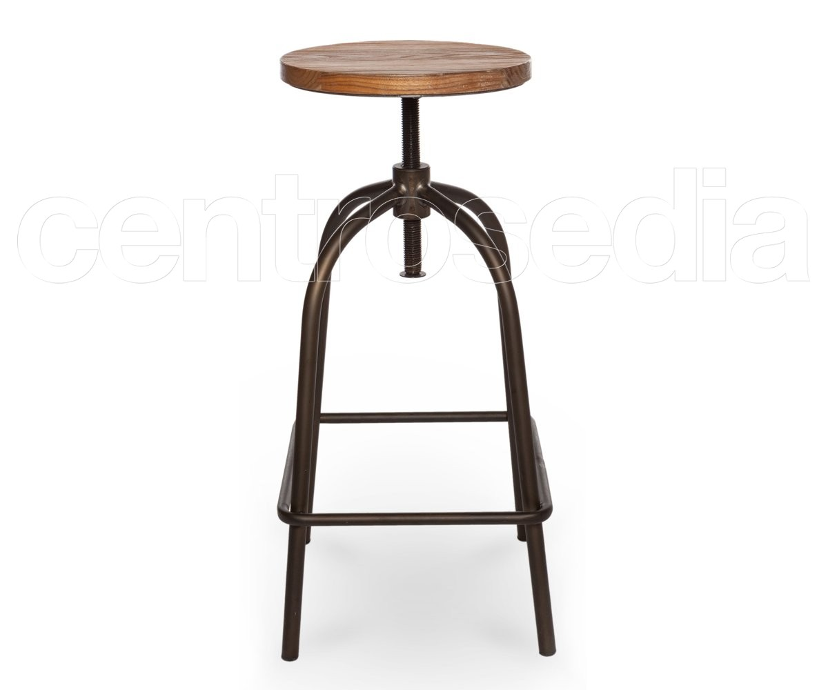 Trionfo vg di ferro metallo e sgabello da bar in legno