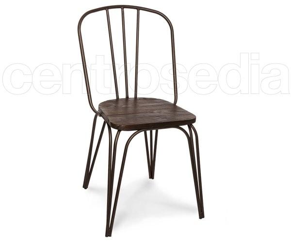 Dakota Sedia Metallo Old Style - Seduta Legno