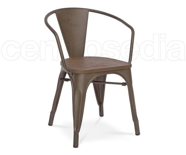 Clizia Poltroncina Metallo Old Style - Seduta Legno