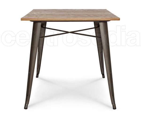 Ares Tavolo Metallo Old Style 80x80 cm - Piano Legno