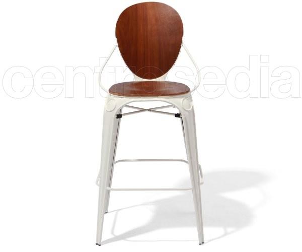 Mascha Sgabello Metallo - Seduta e Schienale Legno