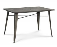 """""""Ares"""" Old Style Metal Table 120x80 cm - Wood Tabletop"""