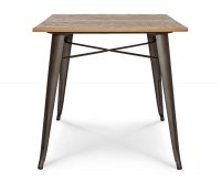 """""""Ares"""" Old Style Metal Table 80x80 cm - Wood Tabletop"""